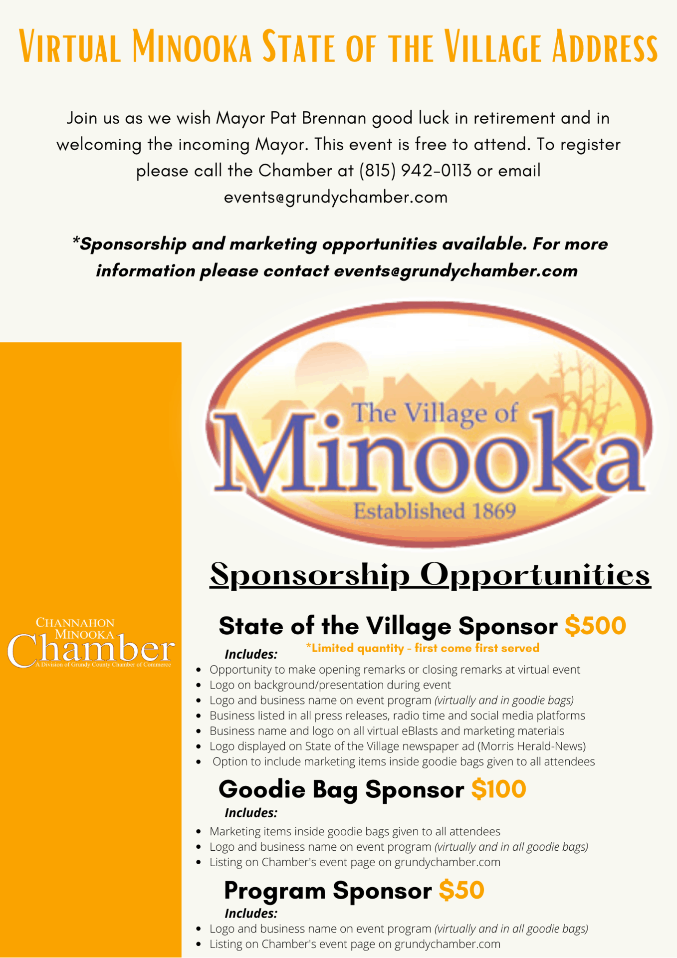 Minooka SOV Village Flyer - Marketing & Sponsorships 2021